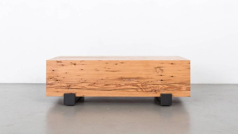 Beam Coffee Table by Uhuru Design, Reclaimed Heart Pine and Black Steel
