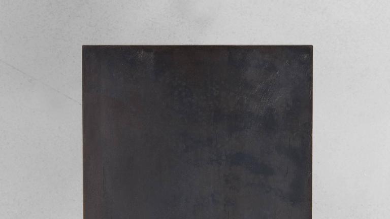 Minimalist Fenced in Console by Uhuru Design, Hand Blackened Steel For Sale