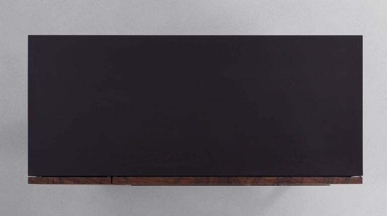 Summit Media Cabinet by Uhuru Design, Claro Walnut, Hand Blackened Steel 4