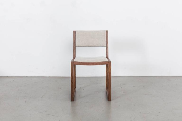 Minimalist Balbo Dining Chair by Uhuru Design, Black Walnut with Upholstered Seat and Back For Sale