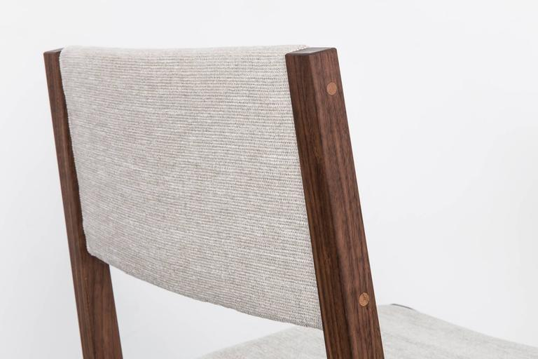 Balbo Dining Chair by Uhuru Design, Black Walnut with Upholstered Seat and Back In New Condition For Sale In Brooklyn, NY
