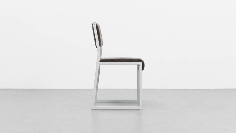 Minimalist Bandholz Dining Chair by Uhuru, White Metal Frame and Upholstered Seat For Sale