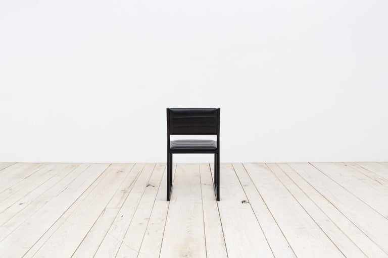 Bandholz Dining Chair in Blackened Steel with Upholstered Leather Seat and Back In New Condition For Sale In Brooklyn, NY