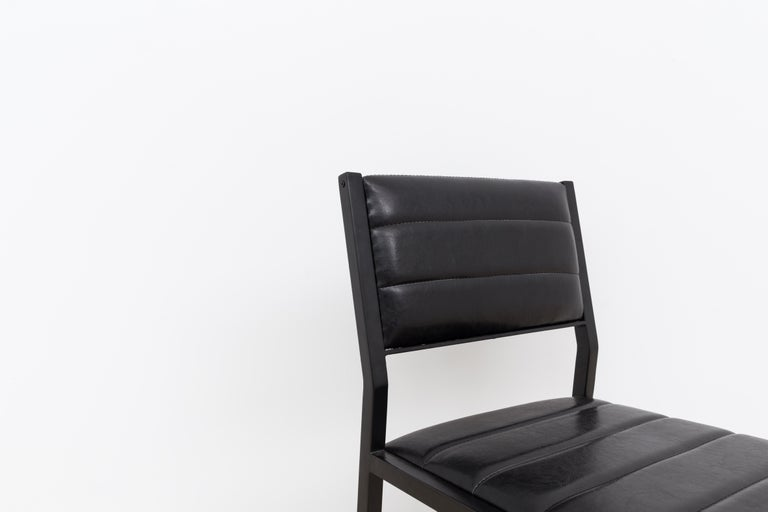 Contemporary Bandholz Dining Chair in Blackened Steel with Upholstered Leather Seat and Back For Sale