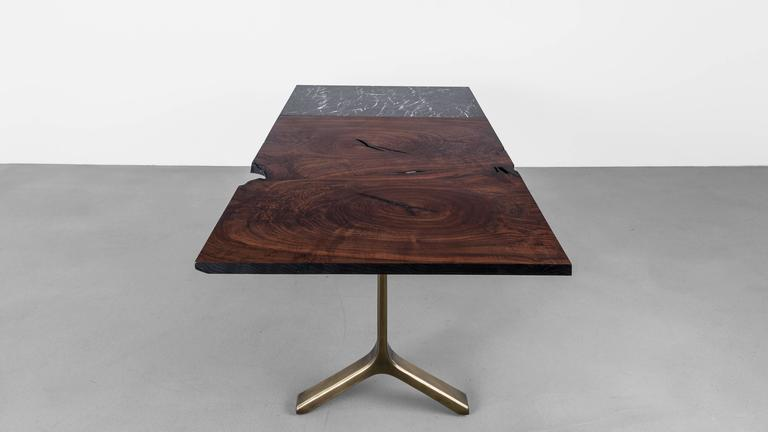 Element Dining Table by Uhuru Design, Walnut Slab, Marble and Brass 2