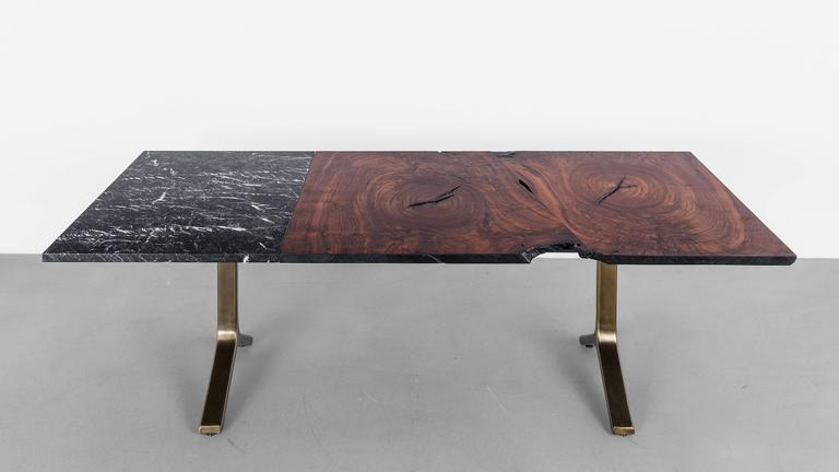 Element Dining Table by Uhuru Design, Walnut Slab, Marble and Brass 7
