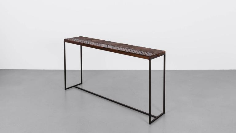 Modern Boardwalk Console by Uhuru Design, Reclaimed Ipe, Hand Blackened Steel For Sale