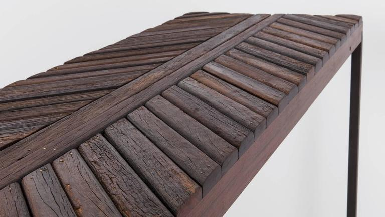 Boardwalk Console by Uhuru Design, Reclaimed Ipe, Hand Blackened Steel In New Condition For Sale In Brooklyn, NY
