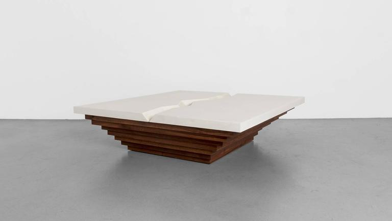 Cast Canyon Coffee Table By Uhuru Design Polished Concrete Walnut - Concrete slab coffee table