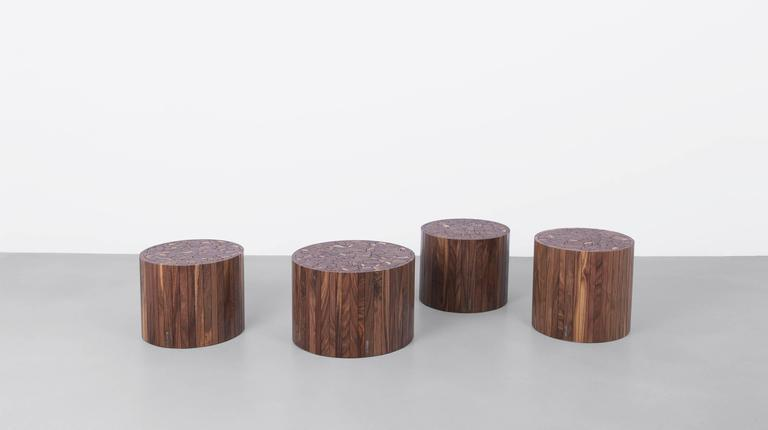 One of our original designs, each stoolen is created from hardwood offcuts gathered in our Brooklyn studio. The stoolen works well as an end table, stool, or coffee table and comes standard in various round and square sizes.  Available in custom