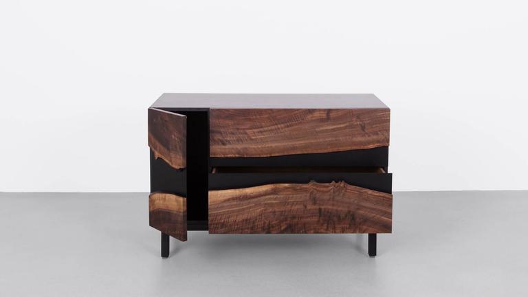 Summit Media Cabinet by Uhuru Design, Claro Walnut, Hand Blackened Steel 2