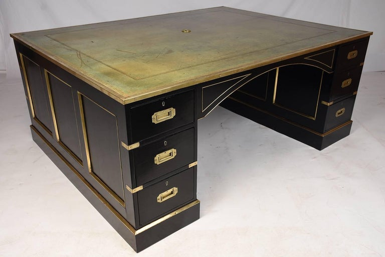Antique English Campaign-Style Partner Desk For Sale 1 - Antique English Campaign-Style Partner Desk For Sale At 1stdibs