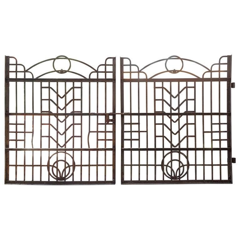 Art Deco Wrought Iron Gates, Circa 1930s At 1stdibs