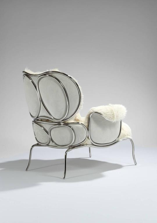 British Armchair and Ottoman, 'Big Jim' by Mattia Bonetti For Sale