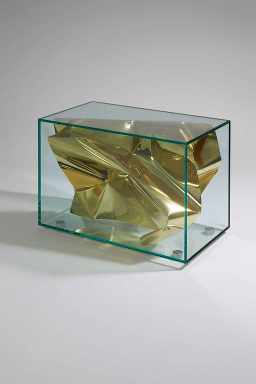 Fredrikson Stallard Side Table 'Crush' 2012. Glass, stainless steel, colored gold polished aluminum / polished aluminum. Measures: H 52 x L 40 x D 70 cm / H 20.5 x L 15.7 x D 27.6 in. Editions David Gill, limited to 30 + 2P + 2AP. For EU buyers this