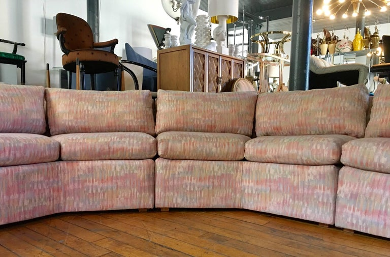 Milo Baughman Style Curved Hexagon Sectional Sofa By