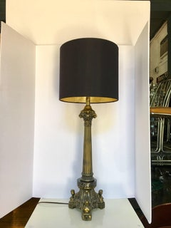 Figural Brass and Marble Fluted Column Greek Key Table Lamps, Pair