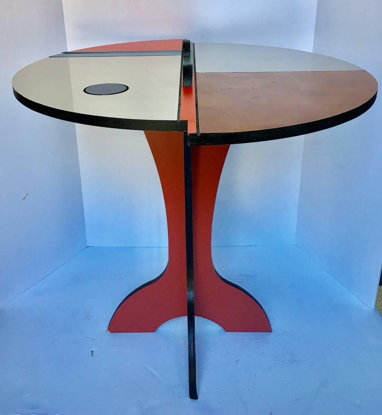 Late 20th Century Mid-Century Modern Memphis Style Color Blocked Side Table For Sale