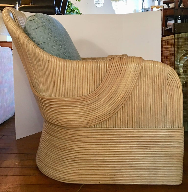 Paul Frankl Style Mid-Century Modern Draped Rattan Reed Lounge Chair In Good Condition For Sale In Lambertville, NJ