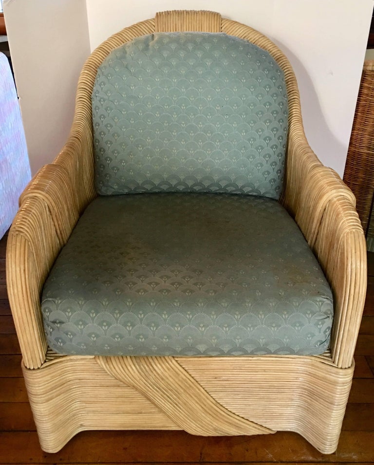 Bamboo Paul Frankl Style Mid-Century Modern Draped Rattan Reed Lounge Chair For Sale