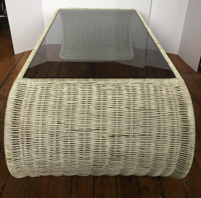 Mid-Century Modern Rattan Wicker and Glass Sculptural Waterfall Coffee Table In Good Condition For Sale In Lambertville, NJ
