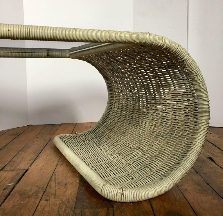 Mid-Century Modern Rattan Wicker and Glass Sculptural Waterfall Coffee Table For Sale 2