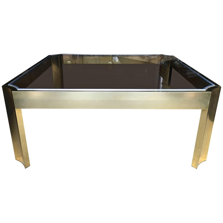 Mid-Century Modern Square Brass Cocktail Table with Smoked Glass For Sale