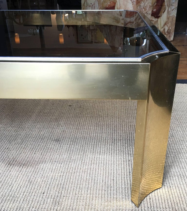 Mid-Century Modern Square Brass Cocktail Table with Smoked Glass In Good Condition For Sale In Lambertville, NJ