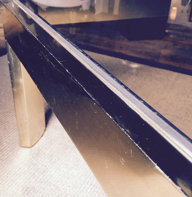 Late 20th Century Mid-Century Modern Square Brass Cocktail Table with Smoked Glass For Sale