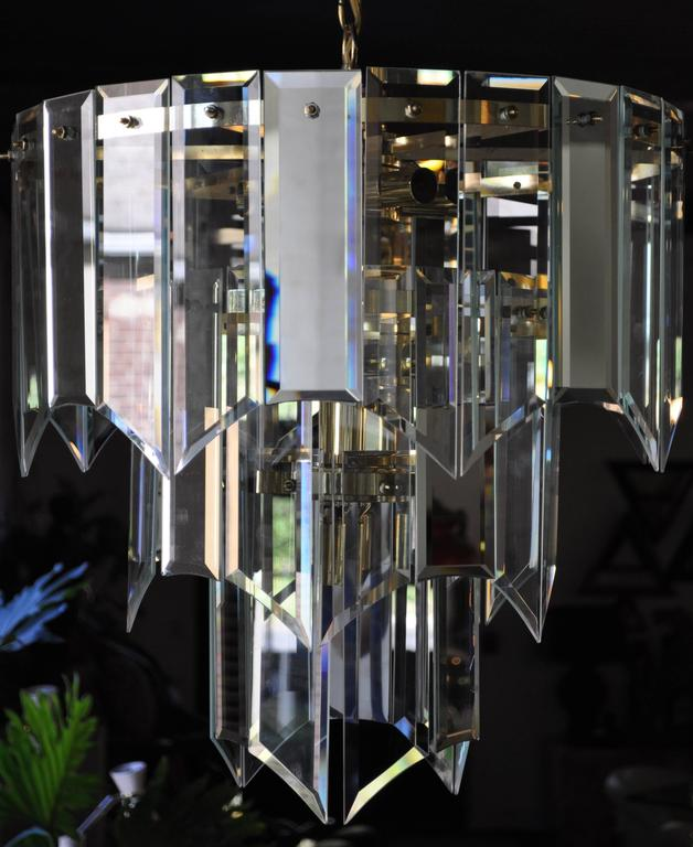 Mid-Century Modern Mirror and Glass Waterfall Chandelier  For Sale
