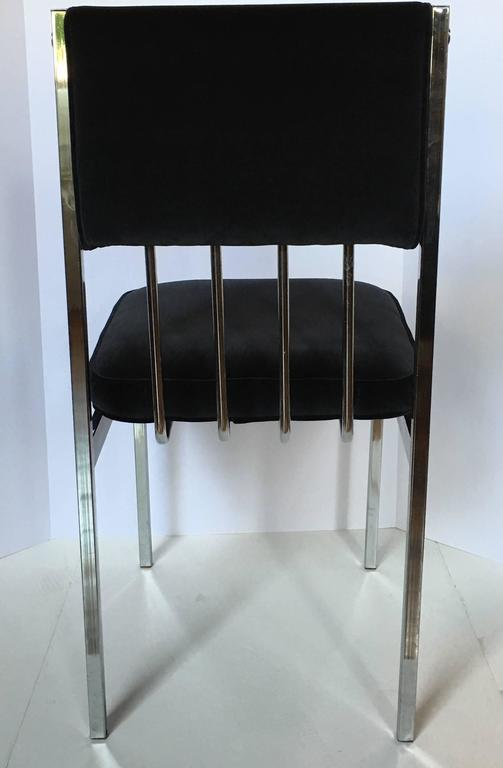 Milo Baughman Style Mid-Century Modern Tubular Chrome Dining Chairs, 1970's  In Good Condition For Sale In Lambertville, NJ