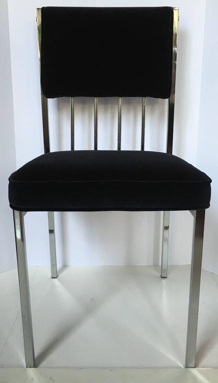 Late 20th Century Milo Baughman Style Mid-Century Modern Tubular Chrome Dining Chairs, 1970's  For Sale