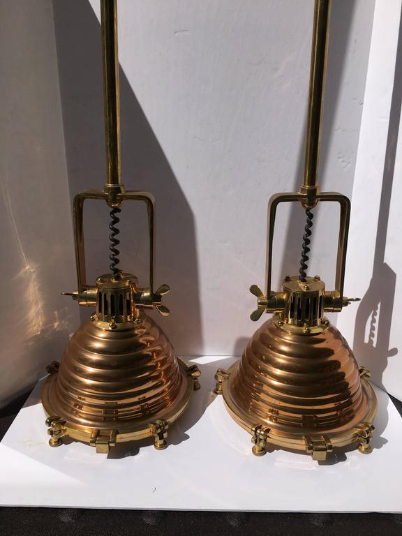 Brass and Copper Nautical Pendant Lights, Pair In Good Condition For Sale In Lambertville, NJ