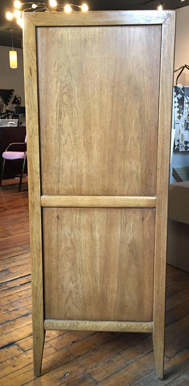 Mid-20th Century Brutalist Geometric Cubist Carved Mid-Century Modern Armoire Bar Cabinet Chest  For Sale