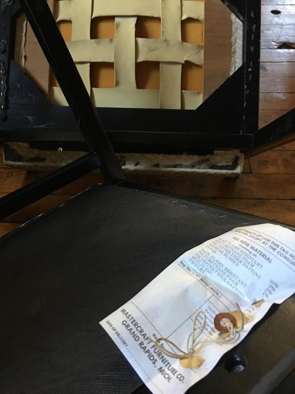1970's Mastercraft Dining Chairs, Black and Brass, Set of Six In Good Condition For Sale In Lambertville, NJ