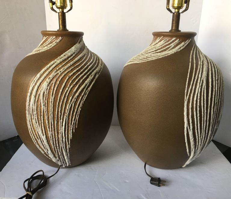 Mid-20th Century Mid-Century Modern Lava Glazed Abstract Ceramic Table Lamps, Pair  For Sale