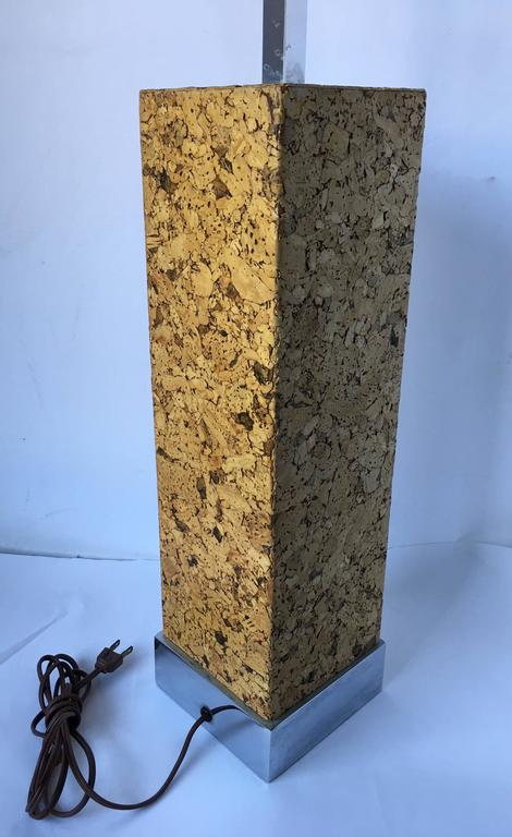 Mid-Century Modern Mixed Metal Cork Lamp by Mutual Sunset In Good Condition For Sale In Lambertville, NJ