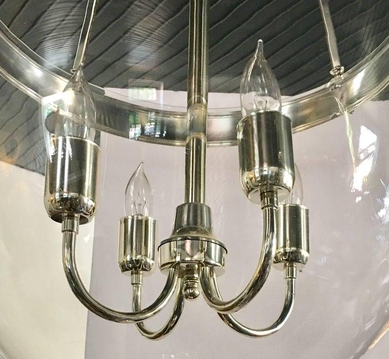 Georgian Large Glass and Chrome Bell Jar Lantern For Sale