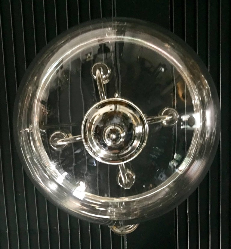 Large Glass and Chrome Bell Jar Lantern In Excellent Condition For Sale In Lambertville, NJ