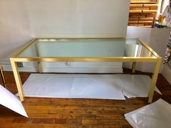Milo Baughman Style Brass and Glass Dining Table