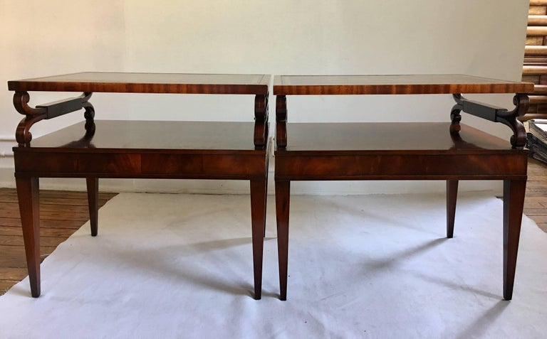 Hollywood Regency Midcentury Mahogany Scrolled Leather End Side Tables by Weiman, Pair For Sale