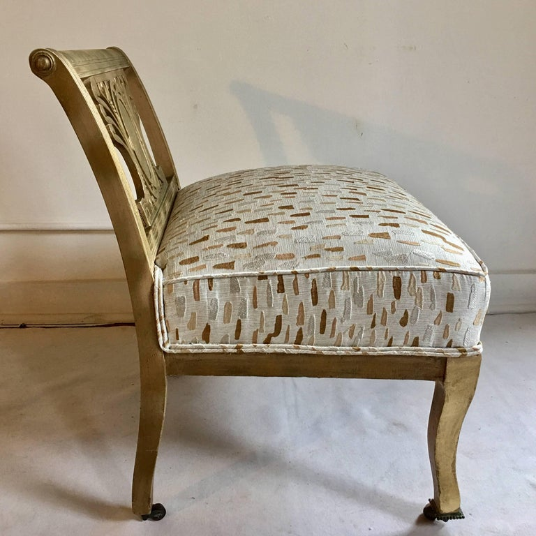 Mid-20th Century Mid-Century Hollywood Regency Style Greek Key Accent Chair or Bench, 1940s For Sale