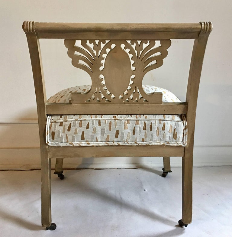Metal Mid-Century Hollywood Regency Style Greek Key Accent Chair or Bench, 1940s For Sale