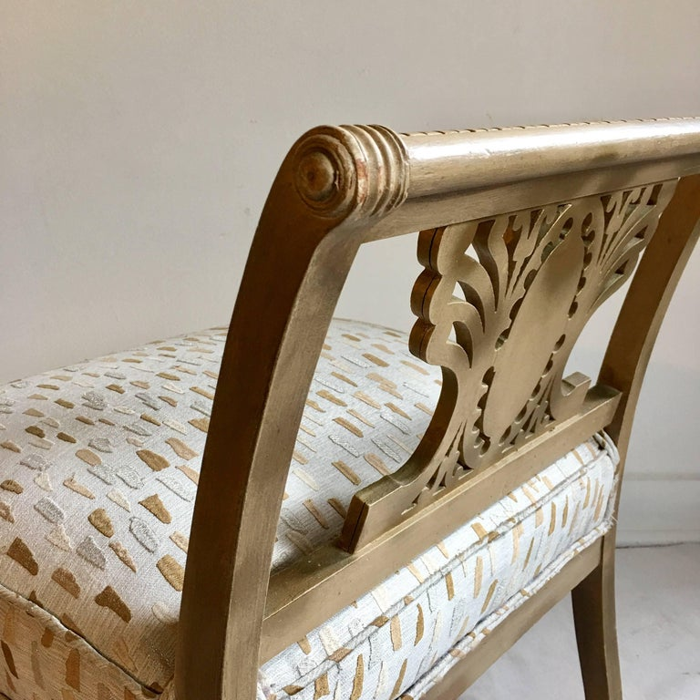 Mid-Century Hollywood Regency Style Greek Key Accent Chair or Bench, 1940s For Sale 4