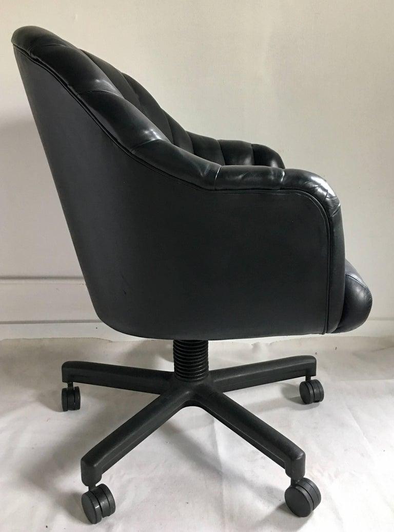 1980s Hollywood Regency Style Channel Leather Swivel Desk