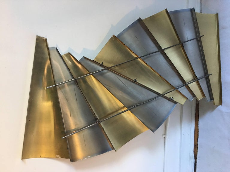 Curtis Jere Brass and Chrome Wall Sculpture, 1980s In Good Condition For Sale In Lambertville, NJ
