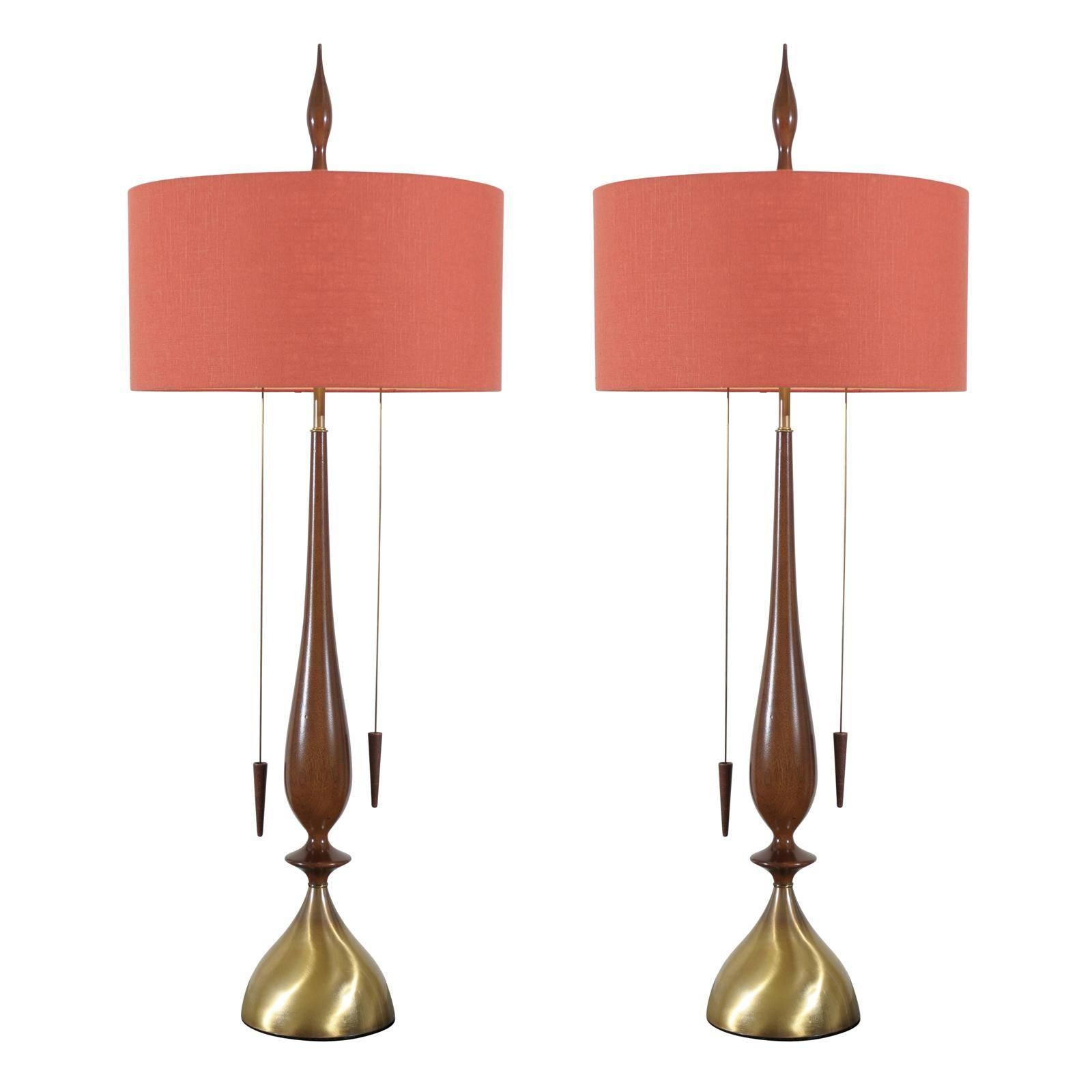 Monumental Pair of Walnut and Brass Lamps by Frederick Cooper, circa 1960