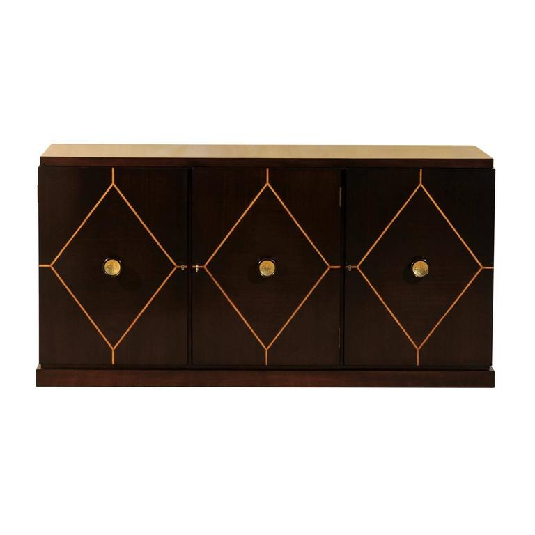 Elegant Restored Mahogany Cabinet or Buffet by Tommi Parzinger for Charak Modern