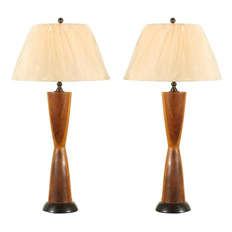 Monumental Pair of Walnut Hourglass Lamps in the Style of Phillip Lloyd Powell
