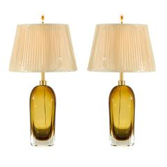 Exceptional Pair of Restored Amber Glass Lamps by Kosta Boda